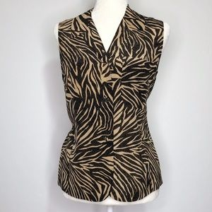 ALLISON TAYLOR Silk Animal Print Sleeveless Top S